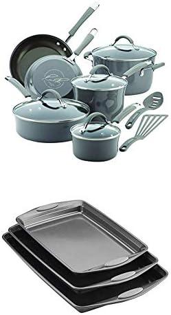 Rachael Ray Cucina Hard Porcelain Enamel Nonstick Cookware Set 12 Piece Sea Salt Gray with Rachael product image