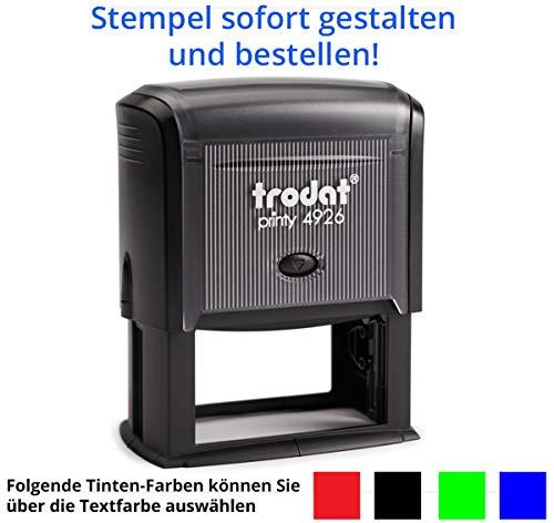 Stempel Trodat Printy 4926 (75x38 mm), für 11 Zeilen, in verschiedenen Farben, gleich Online gestalten!!! (schwarz)