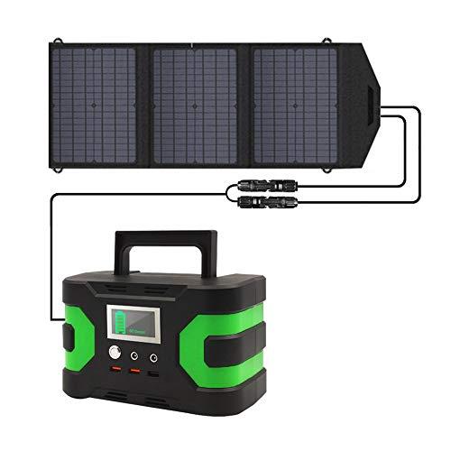 Generador Solar Panel Solar 60W + 166WH Con CC/CA Del Inversor Y Pantalla LCD, Cargado Por El Panel Solar/Enchufe De La Pared, Camping Home Office CPAP Suministro Eléctrico De Emergencia