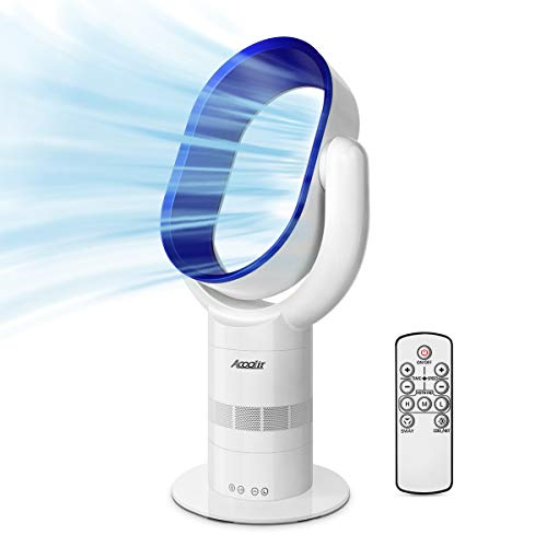 Acoolir Cooling Fan, Leafless Silent Fan, Oscillating Tower Fan with Remote Control, 9 Hour Timer 10 Speed/Wind Settings, Air Circulator with Sleep-Timer Funktion for Home, Office, Bedroom.