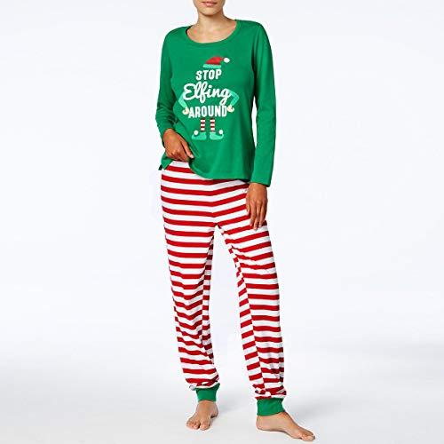 OhhGo Conjunto de pijama de Navidad a juego para hombres, mujeres, niños, bebés, elfos, ropa de dormir (mujer)