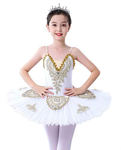 Z&X Vestido profesional de ballet para nia con falda de lago de cisnes, vestido de princesa