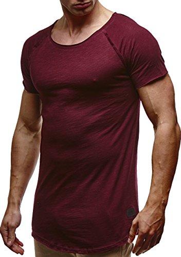Leif Nelson Herren Sommer T-Shirt Rundhals-Ausschnitt Slim Fit Baumwolle-Anteil Moderner Männer T-Shirt Crew Neck Hoodie-Sweatshirt Kurzarm lang LN6339 Bordeaux Medium