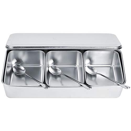 Caja de condimentos de acero inoxidable, contenedor de almacenamiento de condimentos con 3 rejillas, juego de contenedores de tarro de especias con cucharas, utensilios de cocina