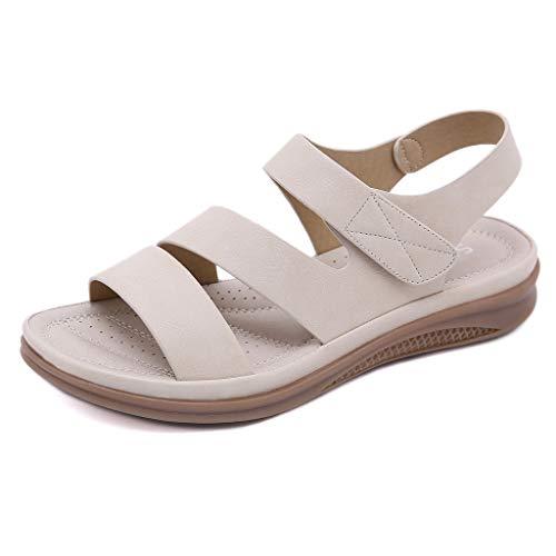 Sandalias de Mujer Zapatillas Casuales con Hebilla de Velcro 2021 Plataforma de Verano Zapatos de tacón de cuña Vacaciones Playa Toe Flops