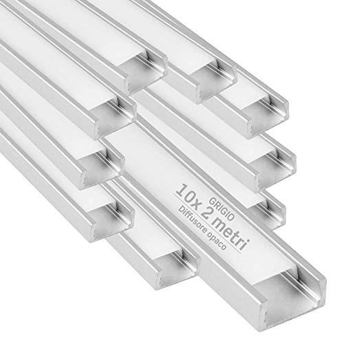 10x Profili da 2 metri (20mt) in Alluminio grigio per Strisce LED Schermatura Opaca ingombro max striscia led 12.2mm - 15.5 x 5.9