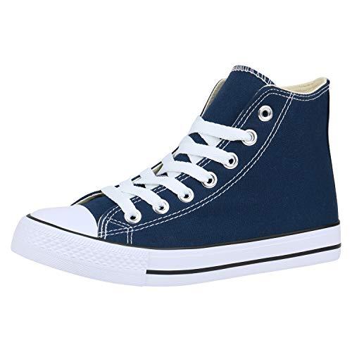 SCARPE VITA Damen Sneaker High Basic Turnschuhe Schnürer Freizeit Schuhe Canvas Stoff Schnürschuhe 172958 Dunkelblau High 43