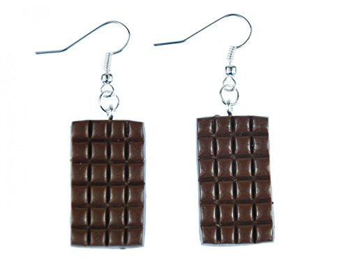 Pendientes de chocolate Miniblings chocolate con leche panel de color marrón 3D
