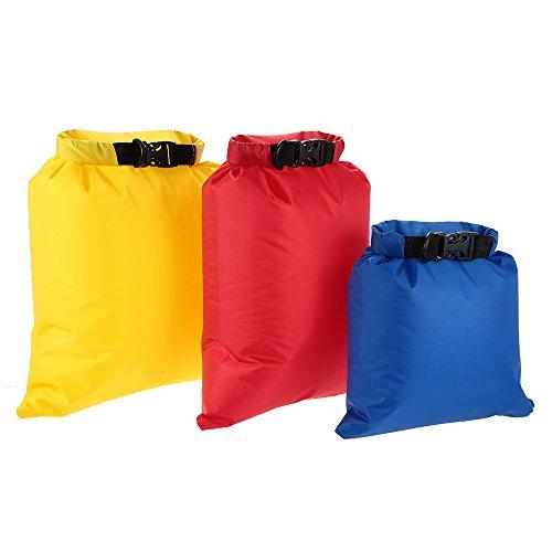 Lixada Pack de 3 Sac étanche, Ultralight, 3L + 5L + 8L, Outdoor Dry Sacks pour Camping/Randonnée/Voyager
