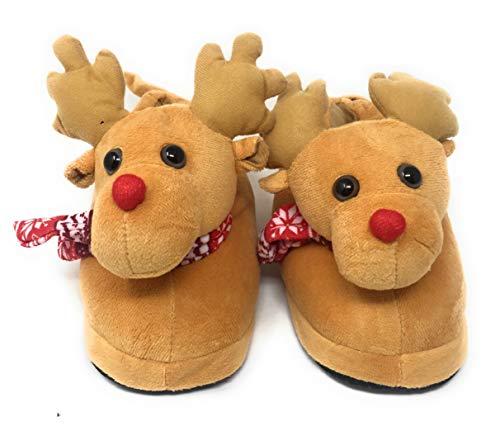 eBoutik Hausschuhe mit Weihnachtsmotiv, Rentier-Elfe, Geschenk, festliches Geschenk für Mädchen und Jungen (Größe 36-38, Rentier mit Schal)