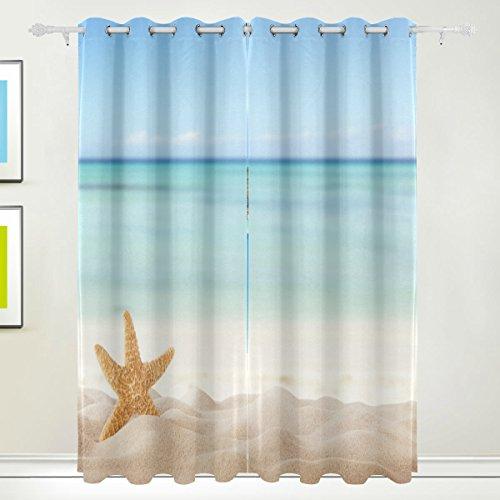 Rideau de fenêtre, Luxe étoile de mer Mer Plage d'impression Isolation thermique épais Super Doux Tissu de polyester Décoration de maison avec œillet 2 panneaux pour chambre à coucher Salon