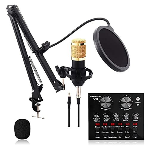 pombconw Micrófono de Condensador, Kit de Micrófono con Tarjeta de Sonido con Soporte de Brazo de Tijera, Montaje de Choque para Grabación, Podcast, Transmisión en Vivo, Juegos Chat