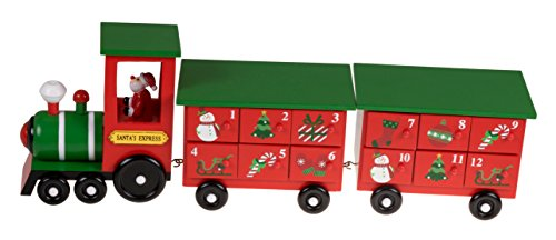 Clever Creations Christmas Train 24 Day Wooden Advent Calendar | Santa's Express Choo Choo Steam Engine Christmas Decor Theme | Red and Green Painted Wood | Measures 17.25' x 3.5' x 5.75'