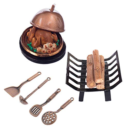 Milageto 1/12 Dollhouse Miniatura Accs Estante de Leña de Metal, Utensilios de Cocina con Juego de Pavo