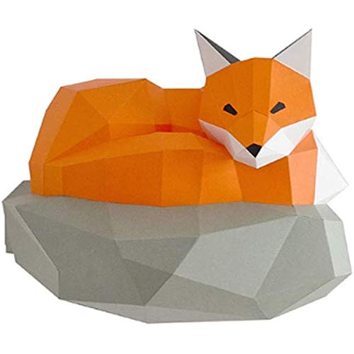 Huachaoxiang Kleiner Fuchs 3D Origami Wanddekoration, Building Kit Origami Papier Modell Ornament DIY Spielzeug Wand-Papier-Trophy Für Papercraft Wohnzimmer Schlafzimmer,Orange