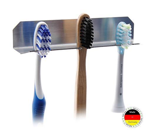 FGE-Line 3er Zahnbürstenhalter aus Edelstahl   selbstklebend & ohne Bohren   Made in Germany