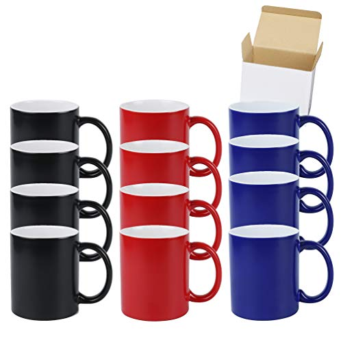 11oz Color Changeable Sublimation Mug 3 Assorted Colors of Black Blue and Red Packed in White Box Case of 12