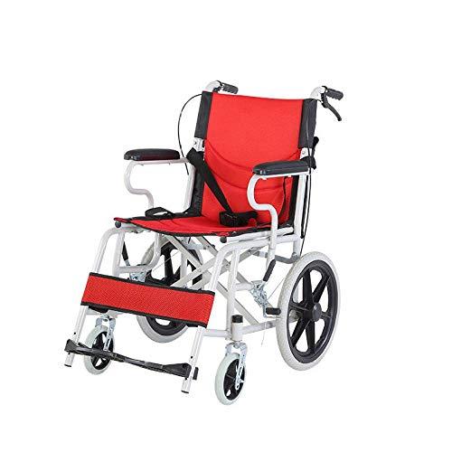 LOLRGV Faltbare Carbon Steel Rollstuhl leichte, tragbare Transit Travel Chair Leichte Handbremse,Rot