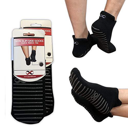 YogaAddict Calze antiscivolo antiscivolo con impugnature, per riabilitazione ospedaliera, Yoga, Pilates, Barre, Trampolino, Fitness, Uso domestico, Nero (Grippy Lines), taglia M / L - 2 paia