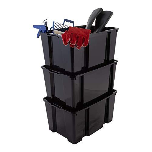 Iris Ohyama 135518 Hobby Box - Cajas de Almacenamiento Apilable para Artículos de Bricolaje, 45L, juego de 3