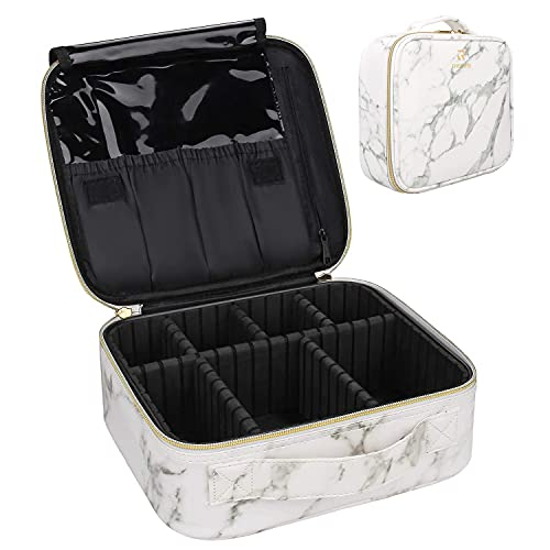 Marble Makeup Bags,Portable Makeup Organizer Bag Travel Case Professional Jewelry Storage Organizer with with Adjustable Dividers for Cosmetics Makeup Brush