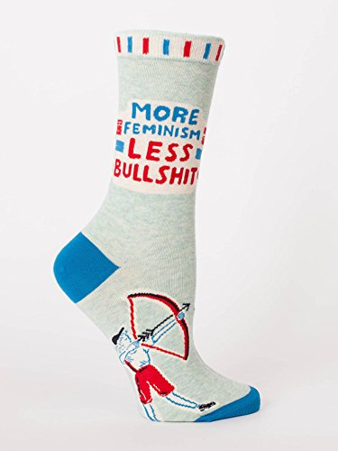 Blue Q Socks, Women's Crew, More Feminism Less Bulls--t,Women's Shoe Size 5-10