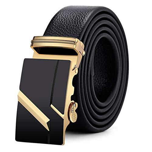 Belt herenriem automatische schuifgesp 4,0 cm gesplengte 9 cm hoogwaardige kop van gepolijste legering met een hoofdbreedte van 3,5 cm. Pak/businesswartel zwart