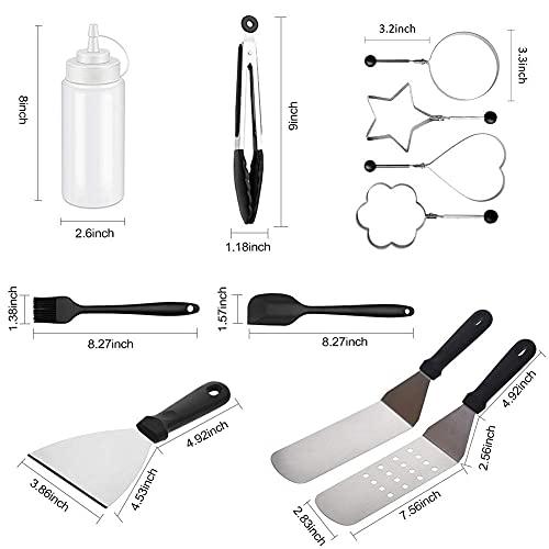 41JgyUtjy7S. SL500  - Spatel-Set Grillzubehör BBQ Tool Kit - Hochleistungs-Edelstahl-Spatel-Grill-Set in professioneller Qualität - ideal zum Kochen von Camping und Heckklappen