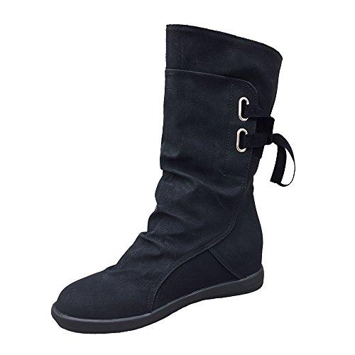 Stiefel Damen,Damen Niedrige Keil Schnalle Biker Knöchel Trim flache Stiefeletten Schuhe,Binggong Damen Stiefeletten