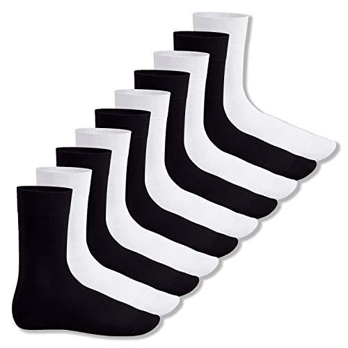 Footstar Herren & Damen Baumwollsocken (10 Paar), Klassische Socken aus Baumwolle - Everyday! - Schwarz/Weiss Mix (5x Schwarz + 5x Weiss) 39-42