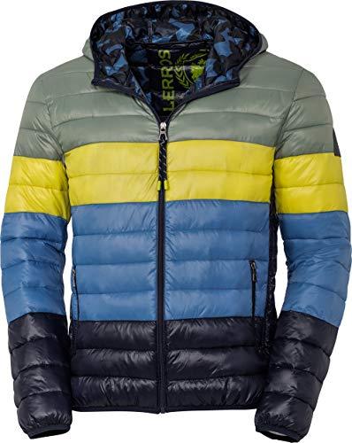 LERROS Herren Steppjacke mit Kapuze, Jacke im Blockstreifen-Design, weich wattiert & wasserabweisend, Outdoor-Kleidung für Männer, Gr. M - 3XL