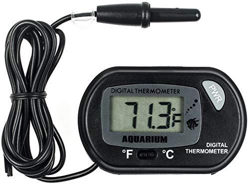 Zacro Termómetro Digital de Agua LCD para Terrarios, Acuarios,Pecera y Recipiente de Vidrio