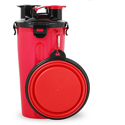 Benrise twee waterkorrelbekers met siliconen huisdier kommen draagbare graan opslag ketels een kop hond kom, Rood