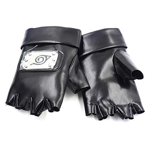 cluis Naruto Handschuhe Anime Black Leaf Village Lederhandschuhe one Size Cosplay Party Cool PU Lederhandschuhe schwarz