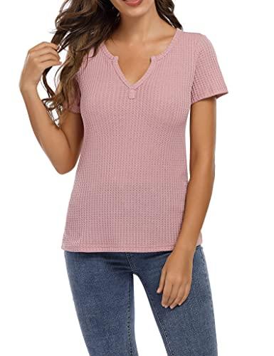 Clearlove Camiseta de manga larga para mujer, cuello en V, estilo informal (paquete múltiple) Manga corta. M