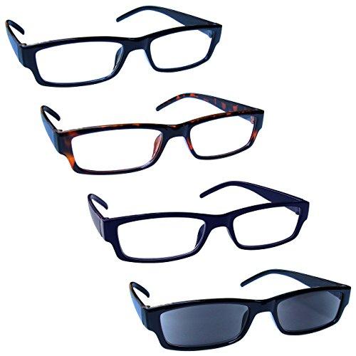 The Reading Glasses Company Gafas De Lectura Negro Marrón Azul Lectores Con Uv400 Lectores De Sol Valor Pack 4 Hombres Mujeres Rrrs32-1231 +1,00 4 Unidades 88 g