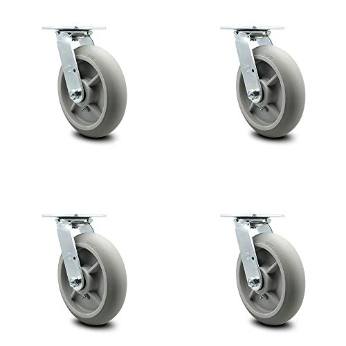 """Thermoplastic Rubber Donut Tread Swivel Top Plate Caster Set of 4 w/8"""" x 2"""" Gray Wheels - Includes 4 Swivel - 2400 lbs Total Capacity - Service Caster Brand"""
