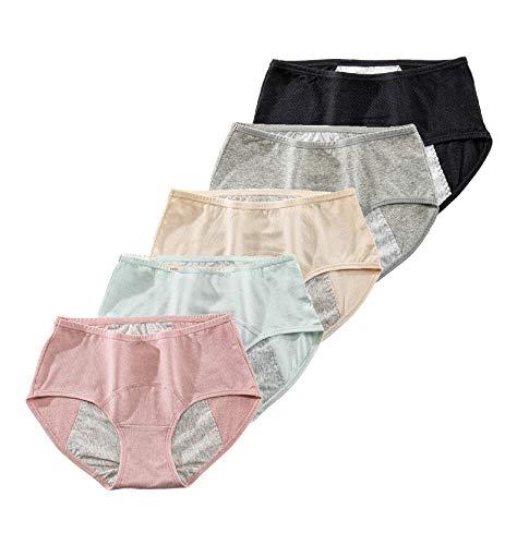 Schokufeh Pack de 5 bragas de menstruación para mujer y niña Negro Gris Albaricoque Rosa Verde Claro L