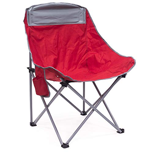 Creative Outdoor Folding Camping Bucket Moon Chair with Side Storage Pocket, Red