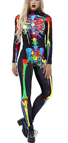 Ainuno Halloween Costumes for Women,Womens Skeleton Costume Bodysuit Sexy,Multi Skeleton S