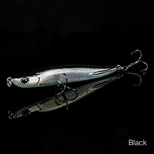 Febelle - Señuelo de pesca artificial en 3D, cebos de pesca de lubina en forma de piscardo que se hunden, anzuelos luminiscentes para lanzamientos de línea largos, 80 mm, negro.