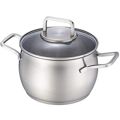QIXIAOCYB Olla para sopa de acero inoxidable con tapa de vidrio para utensilios de cocina, parte inferior compuesto, para todas las fuentes de calor, cazuela de 20 cm de diámetro
