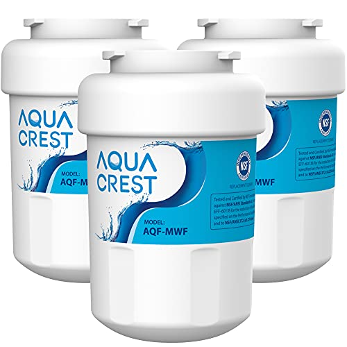 AQUA CREST MWF Refrigerator Water Filter, Replacement for GE Smart Water MWF, MWFINT, MWFP, MWFA, GWF, HDX FMG-1, GSE25GSHECSS, WFC1201, RWF1060, 197D6321P006, Kenmore 9991, Pack of 3