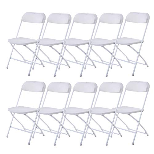 VINGLI 10 Pack White Plastic Folding Chair, Indoor Outdoor Portable Stackable Commercial Seat with Steel Frame 350lb. Capacity for Events Office Wedding Party Picnic Kitchen Dining