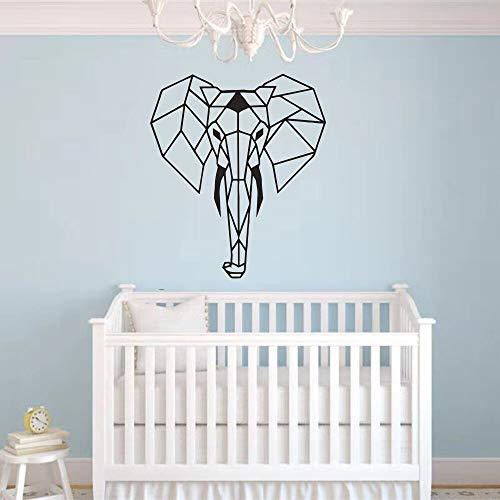 Animal elefante arte calcomanías decoración de la habitación de los niños dormitorio geométrico art deco pegatinas de pared murales A5 30x25 cm