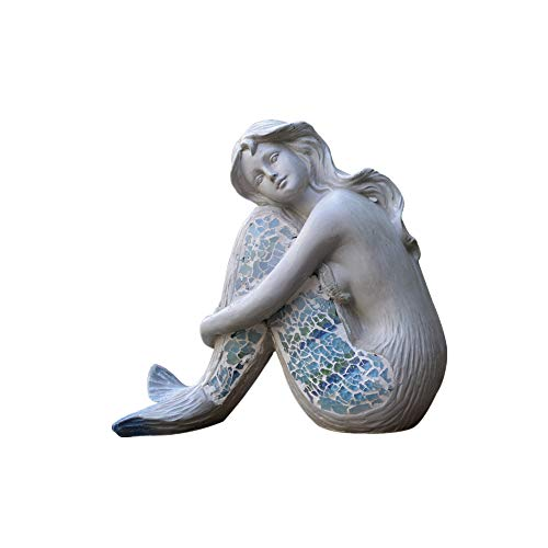 N / A Garden Decorative Ornaments, Resin, Beautiful Mermaid Shape, Personalize, Simple Modern Light Luxury, Creative, Crafts, for Patio Home Backyard