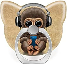 360 Degree Rotation Socket, Cell Phone Pop Grip Stand Works for All Smartphone and Tablets - Cute Baby Monkey Wearing Headphones