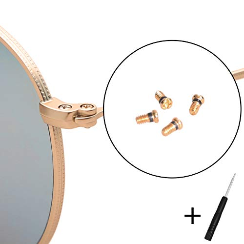 Ersatzschrauben für Ray-Ban Aviator RB3025 3025 Sonnenbrillen-Reparatur-Set (4 Stück), inkl. Schraubendreher