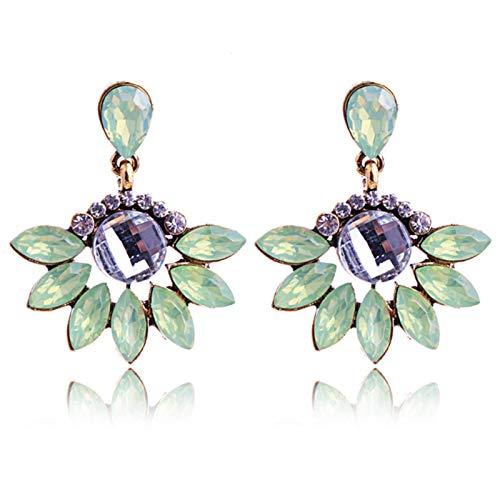 LIUL Pendientes de perforación de Piedra de Cristal Verde Claro con Incrustaciones de Diamantes de imitación de Moda Pendientes de botón de Color Dorado Joyería de Mujer