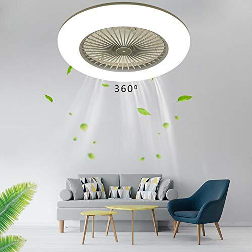 Ventilador de techo con iluminación LED, ventilador de techo ajustable de 3 velocidades, con mando a distancia, silencioso, 36 W, moderna lámpara de techo, dormitorio, salón o comedor